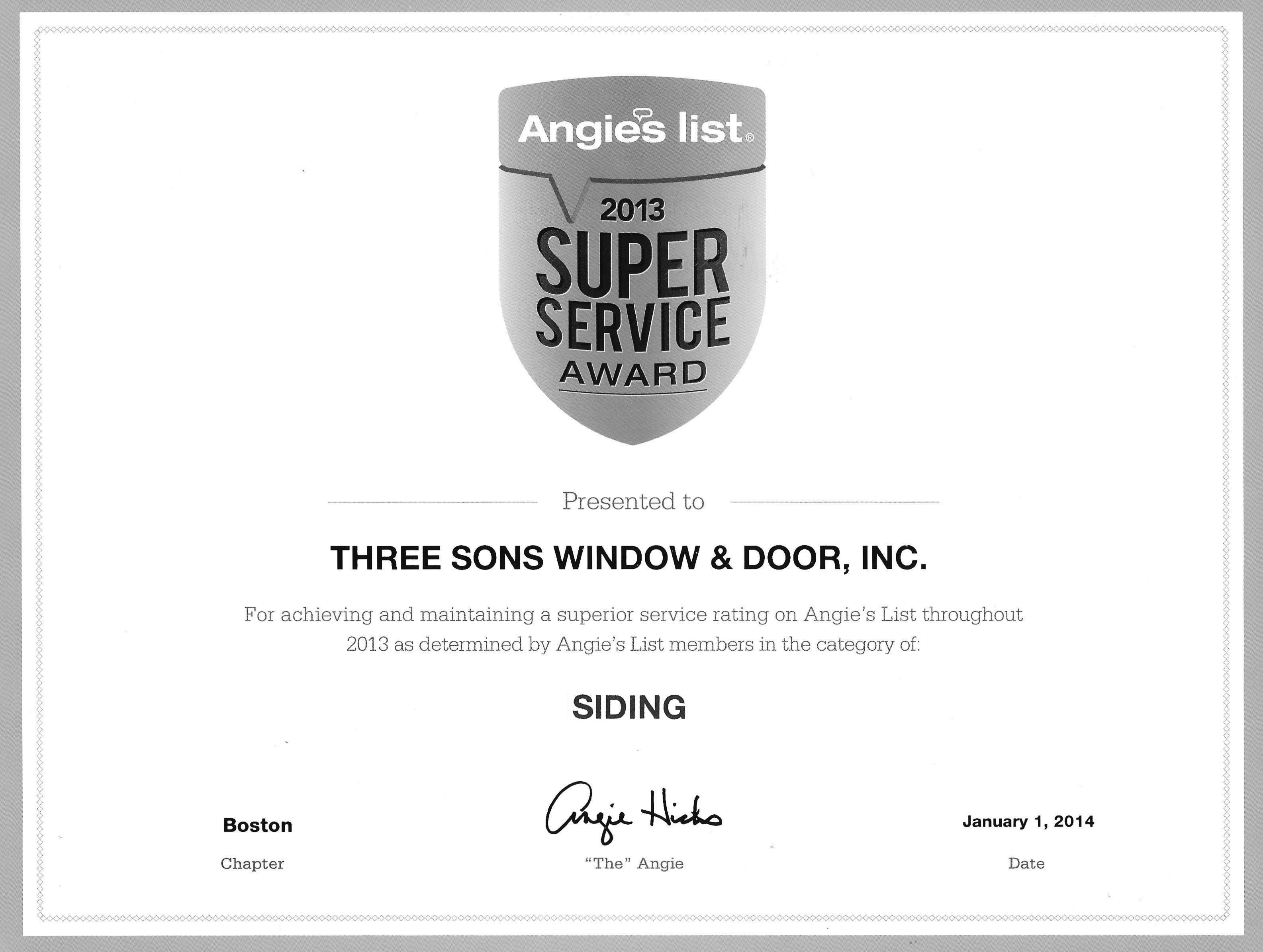 angies list 2013 - siding