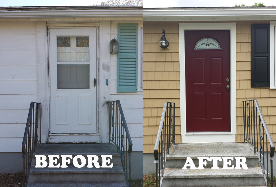 before & after of replacement door